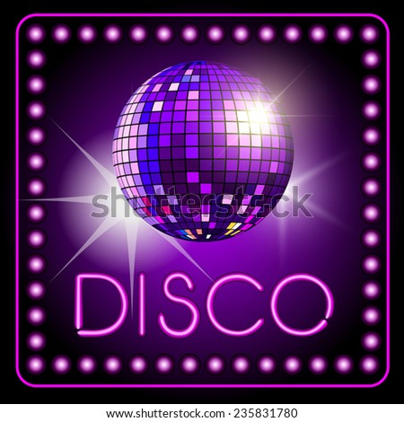 Mirror disco ball isolated on background. Vector illustration - stock vector