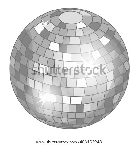 Mirror disco ball isolated on white background. Vector illustration. - stock vector