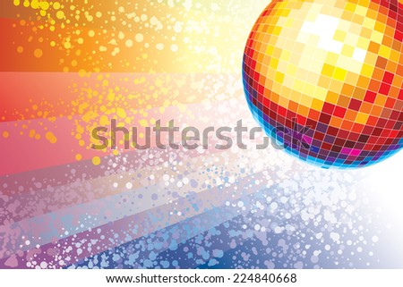 Mirror disco ball over a background of colored spots - stock vector