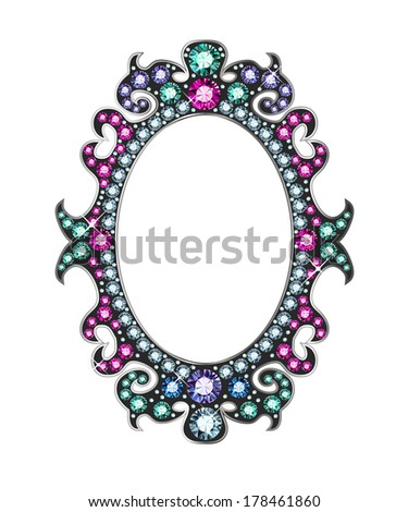 Mirror frame made of gems - stock vector