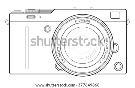 Mirror less interchangeable lens digital photo stock vector mirror less interchangeable lens digital photo camera line blueprint view outline vector illustration malvernweather Gallery