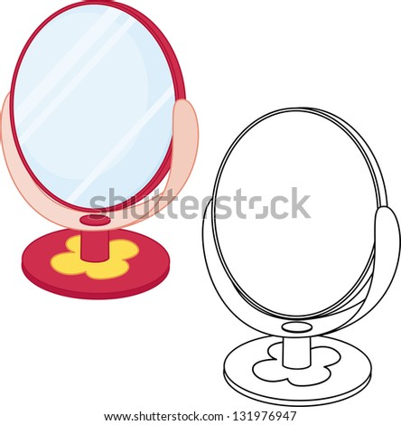 Mirror toy. Coloring book. Vector illustration.