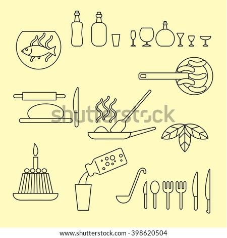 Misc food and utensil cooking icon set. Modern thin line style illustration. For restaurant and cafe design