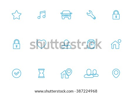Miscellaneous blue line icons - stock vector