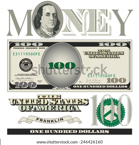 Miscellaneous 100 dollar bill elements  - stock vector