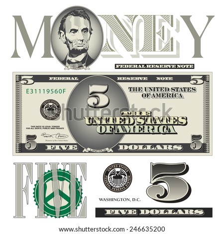 Miscellaneous five dollar bill elements - stock vector