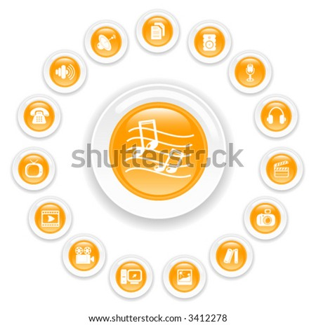 Miscellaneous multimedia vector icons - stock vector