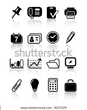 Miscellaneous office icons - stock vector