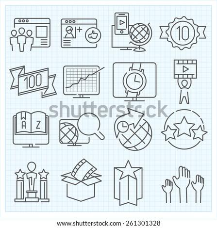 Miscellaneous vector thin line icons set - stock vector