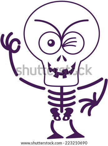 Mischievous skeleton with big head, bulging eyes and missing teeth while frowning, smiling winking and making an OK sign in malicious mood - stock vector