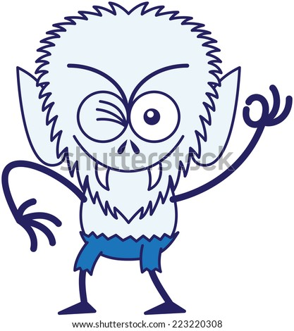Mischievous werewolf with big head, bulging eyes, blue pants, blue fur and sharp fangs while frowning, smiling, winking and making an OK sign in a very malicious mood - stock vector