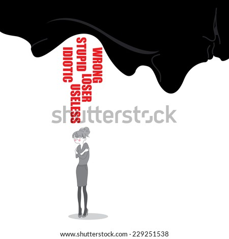Miserable woman under pouring abusive and hurting words from boss or husband. Stop verbal abuse concept. Vector EPS 10 - stock vector