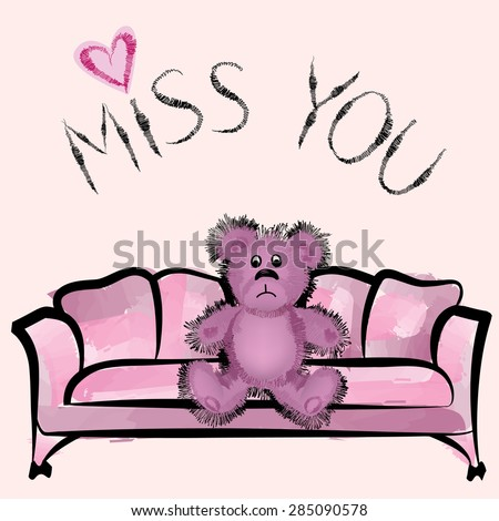 Miss you card with bear - stock vector