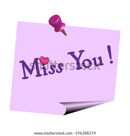 Miss you note isolated on a white background - stock vector