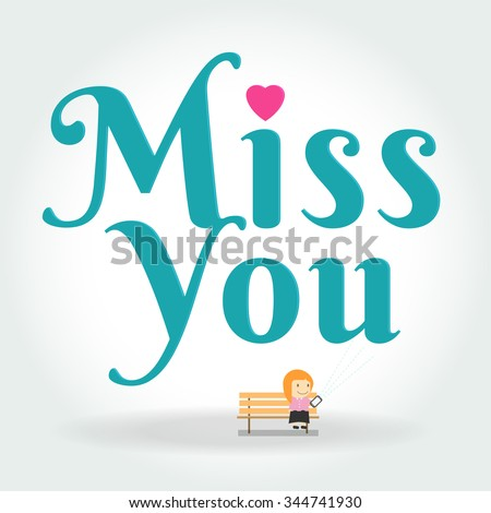 miss you postcard. Girl Writing Text Message on phone. The vector illustration of young cartoon girl writing message on her mobile phone for ui, web games, tablets, wallpapers, and patterns. - stock vector