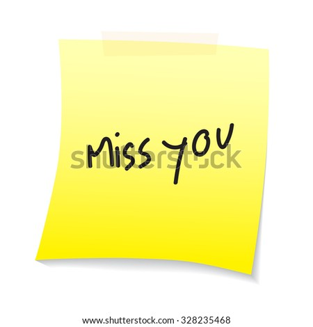 miss you text on paper note - stock vector