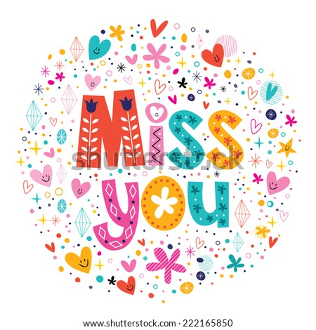 miss you typography lettering decorative text card - stock vector
