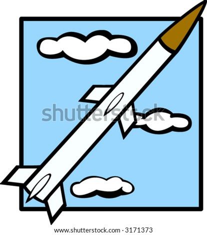 missile flying through the skies - stock vector
