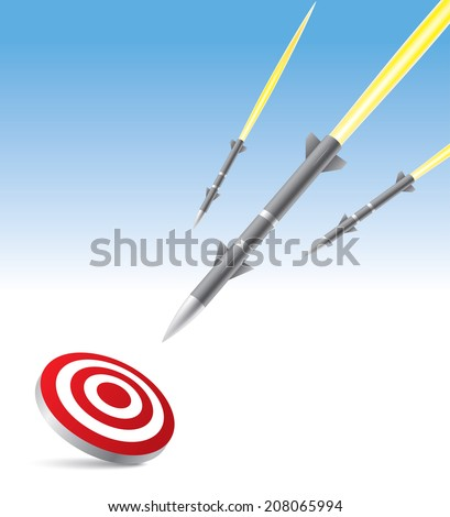 Missile hit the target - stock vector