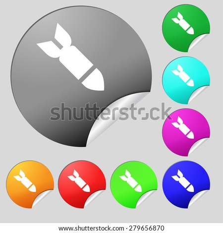 Missile,Rocket weapon  icon sign. Set of eight multi-colored round buttons, stickers. Vector illustration - stock vector