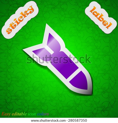 Missile,Rocket weapon  icon sign. Symbol chic colored sticky label on green background. Vector illustration - stock vector