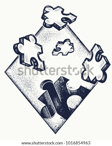 Missing jigsaw puzzle tattoo and t-shirt design.  Symbol of education, business, solution of tasks, communications, psychology