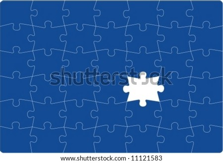 MISSING PART - Puzzle with one missing part. Vectorial drawing. - stock vector