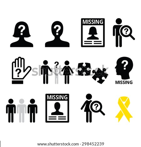 missing people missing child icons set stock vector