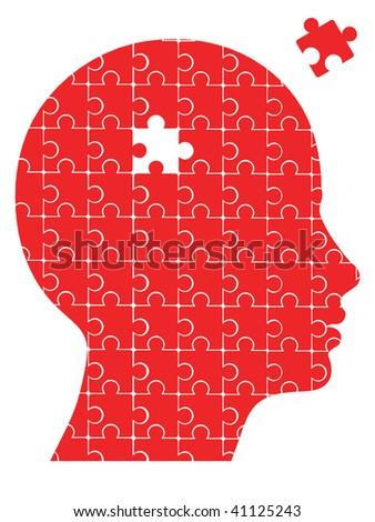 missing piece puzzle head vector - stock vector