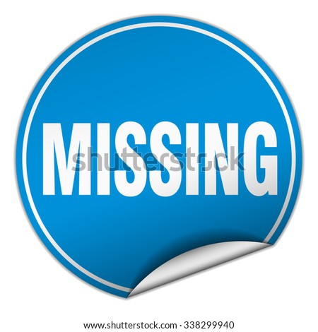missing round blue sticker isolated on white