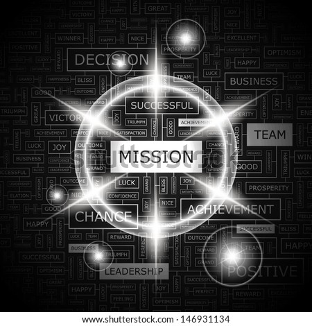 MISSION. Background concept wordcloud illustration. Print concept word cloud. Graphic collage with related tags and terms. Vector illustration.  - stock vector