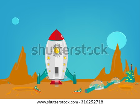 Mission to another planet like mars with a small colony of men from earth. Editable Clip art. - stock vector