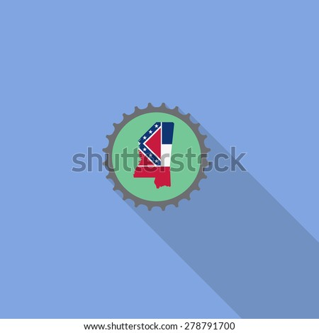 Mississippi bottle cap flat icon with long shadow. Vector illustration EPS10 - stock vector