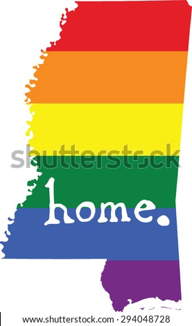 Mississippi gay pride vector state sign - stock vector
