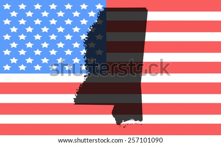 mississippi  map on a vintage american flag background  - stock vector