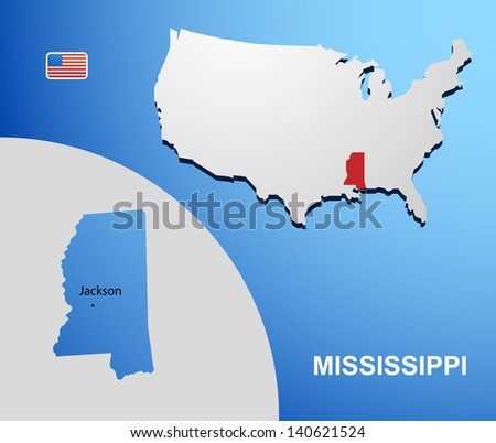 Mississippi on USA map with map of the state