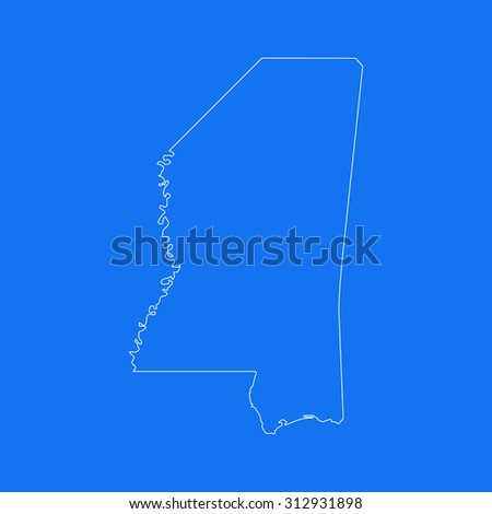 Mississippi outline map, stroke. Line style. White and blue. Vector EPS8 - stock vector