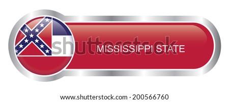 Mississippi State Flag glossy banner - stock vector