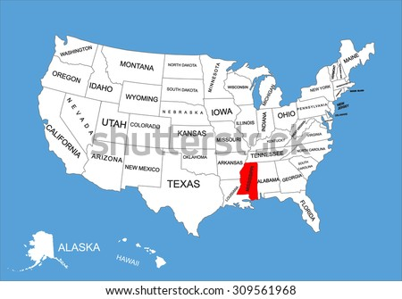 Louisiana State Usa Vector Map Isolated Stock Vector - Mississippi in usa map