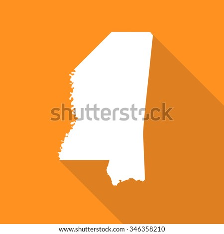 Mississippi white map,border flat simple style with long shadow on orange background - stock vector