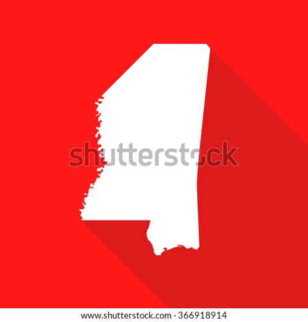Mississippi white map,border flat simple style with long shadow on red background - stock vector