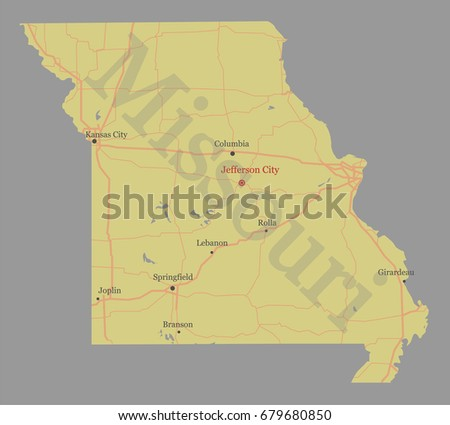 Missouri Accurate Vector Exact Detailed State Map With Community Assistance And Activates Icons Original Pastel Ilration