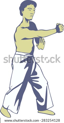 Mister in a fighting stance . - stock vector