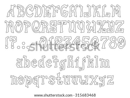 Mistic Font for Halloween greeting Cards, EPS 8 - stock vector