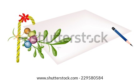 Mistletoe Bunch and Christmas Balls with A Christmas Red Ribbon and Candy Cane on Blank Paper, Sign For Christmas Celebration.  - stock vector