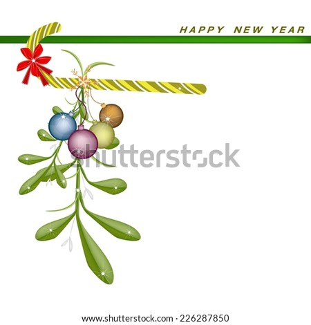 Mistletoe Bunch, Candy Cane and Christmas Balls Hanging on A Red Bow on Greeting Card, Sign for Christmas Celebration.  - stock vector