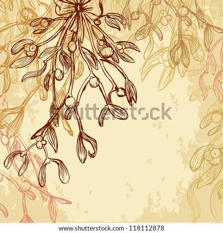 Mistletoe Christmas grungy card - stock vector
