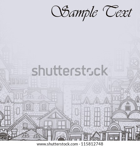 Misty background with old town - stock vector