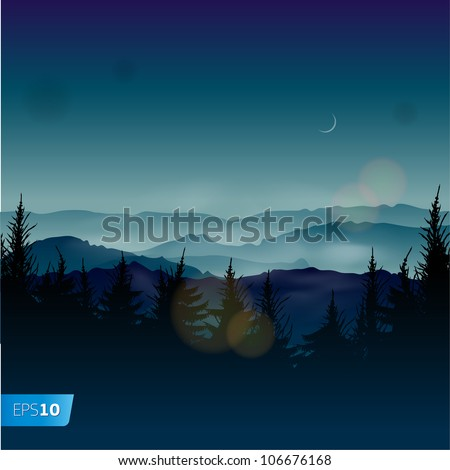 Misty coniferous forests, vector Eps10 illustration.