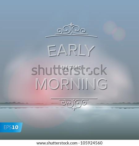 Misty morning background, vector Eps10 illustration. - stock vector